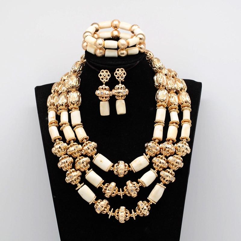 New White Coral Beads Wedding Jewelry Set Luxury Indian Dubai Gold Women Party Jewelry Set CNR073