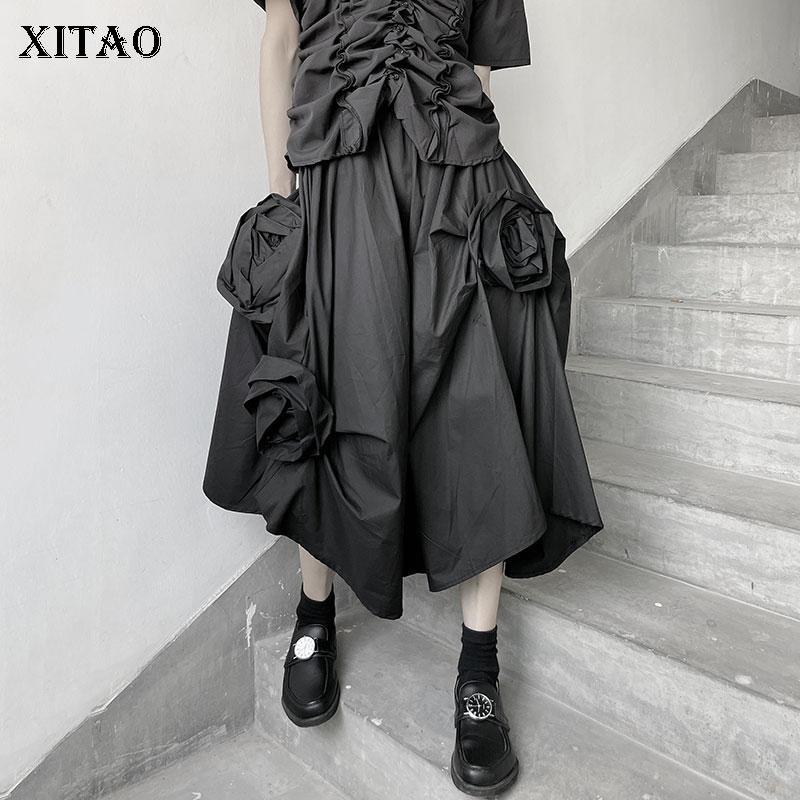 XITAO Summer New Black Skirt Asymmetrical Three-dimensional Flower Decoration Fashion Empire Waist Loose Women All-match ZXR1515