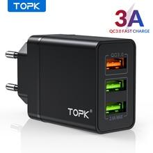 Chargeur USB TOPK Charge rapide 3.0 Charge rapide QC3.0 chargeur multi-usb pour Samsung S10 Plus Xiaomi voyage chargeur de téléphone mural ue