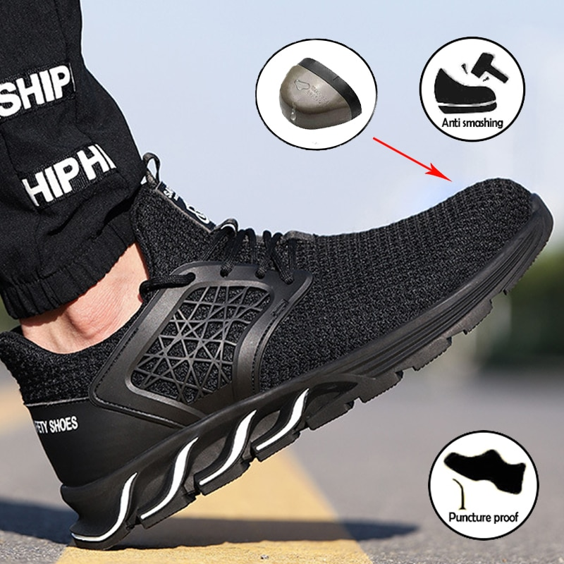 Mens Work Safety Boots Non-slip Puncture Kevlar bottom Fashion Safety Shoes Waterproof Steel Toe Shoe