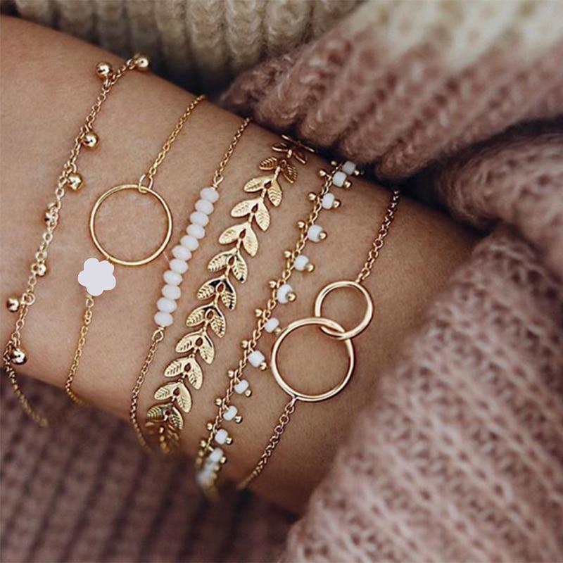 Tocona Bohemian Gold Tassel Bracelets for Women Boho Jewelry Geometric Leaves Beads Layered Hand Cha