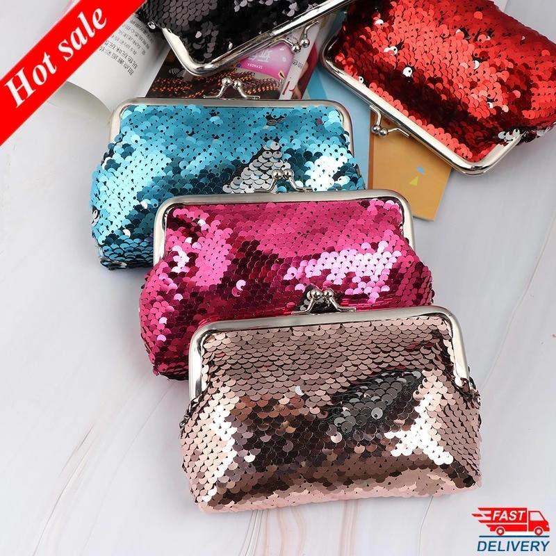 New Fashion Sequins Mini Wallet Clutch Pouch Portable Women Sequins Coin Purses Handbags Card Holder