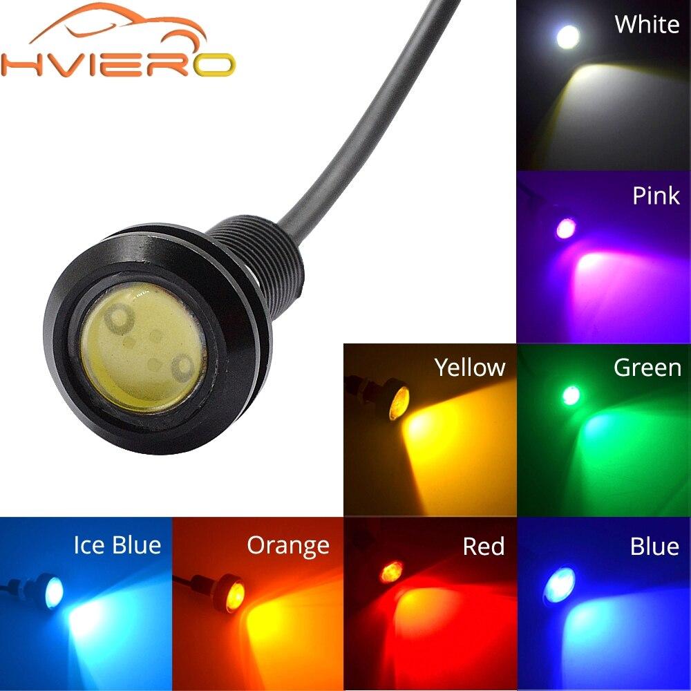 Luces de circulación diurna LED de ojo de Águila Roja de 18MM para coche, luces de señal de marcha atrás para estacionamiento, luces de niebla impermeables para coche y motocicleta