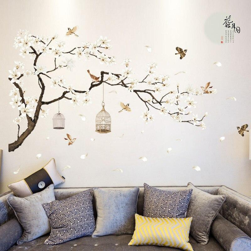 Bâtonnets muraux classiques imprimés de fleurs 1 pièce   Papier peint en PVC amovible de Style chinois, décoration pour la maison