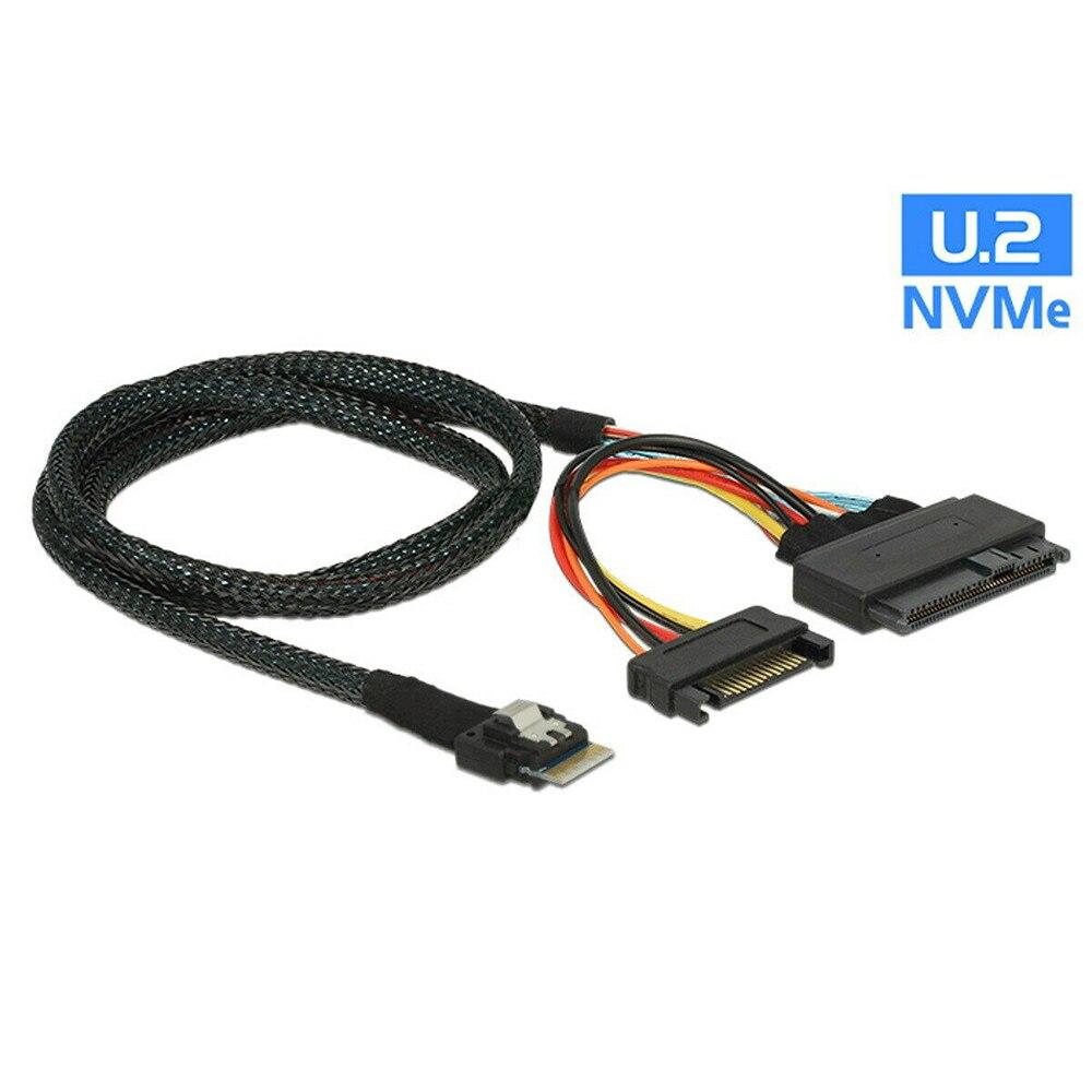 U.2 كابل محول 0.5m SFF-8639 إلى SFF-8654 سليملاين 4i NVME SSD بكيي كابل اللوحات الرئيسية 750 p3600 p3700 M.2 SSD