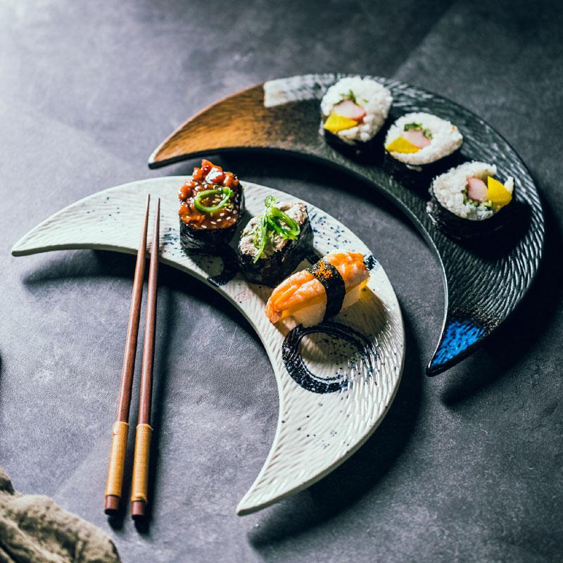 طبق سوشي سيراميك على شكل قمر ، كبير ، إبداعي ، مطبخ ياباني ، مسطح ، للحلوى ، المعجنات ، الزلابية