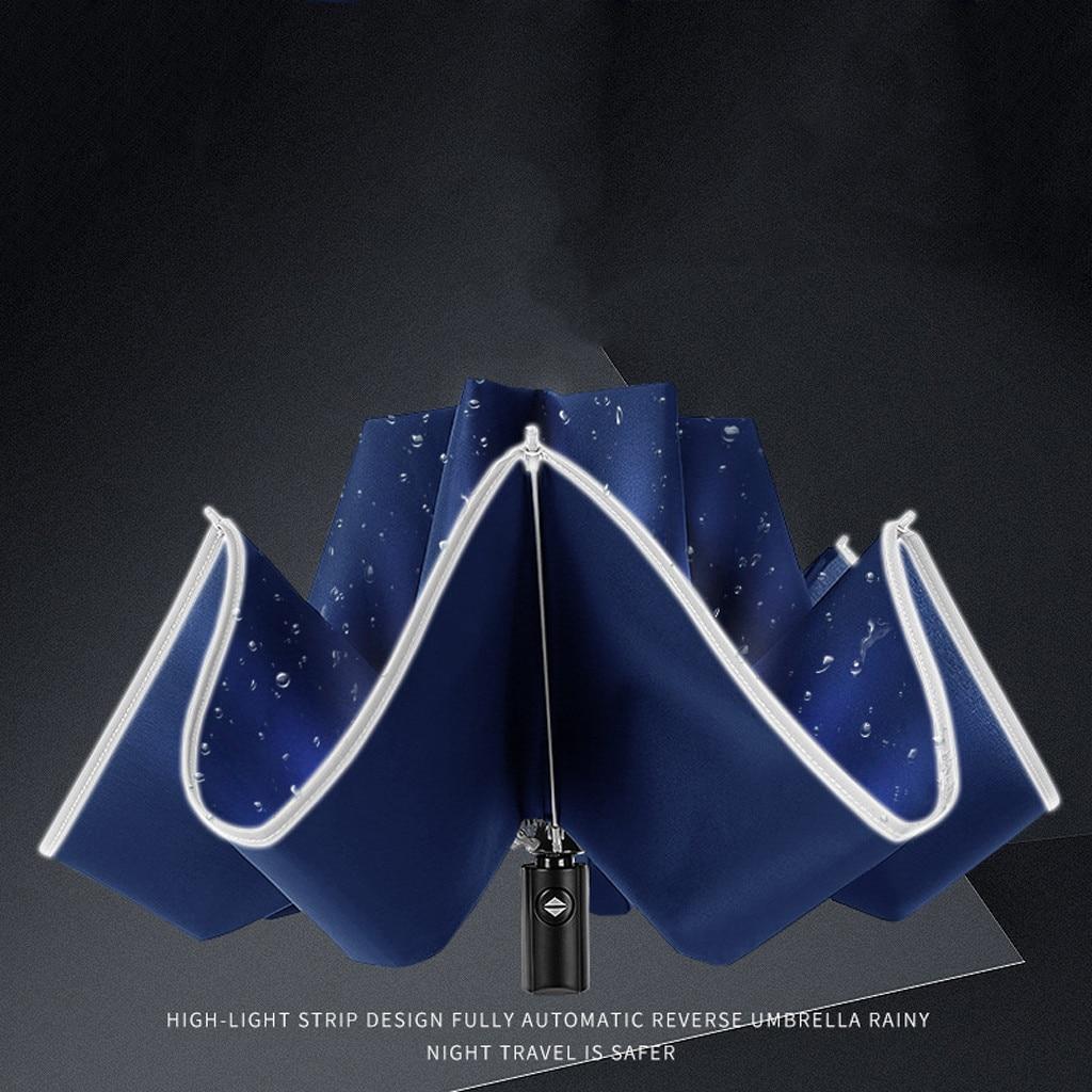 Автоматический складной деловой зонт со светоотражающими полосками, 3 раза, складной водонепроницаемый зонт