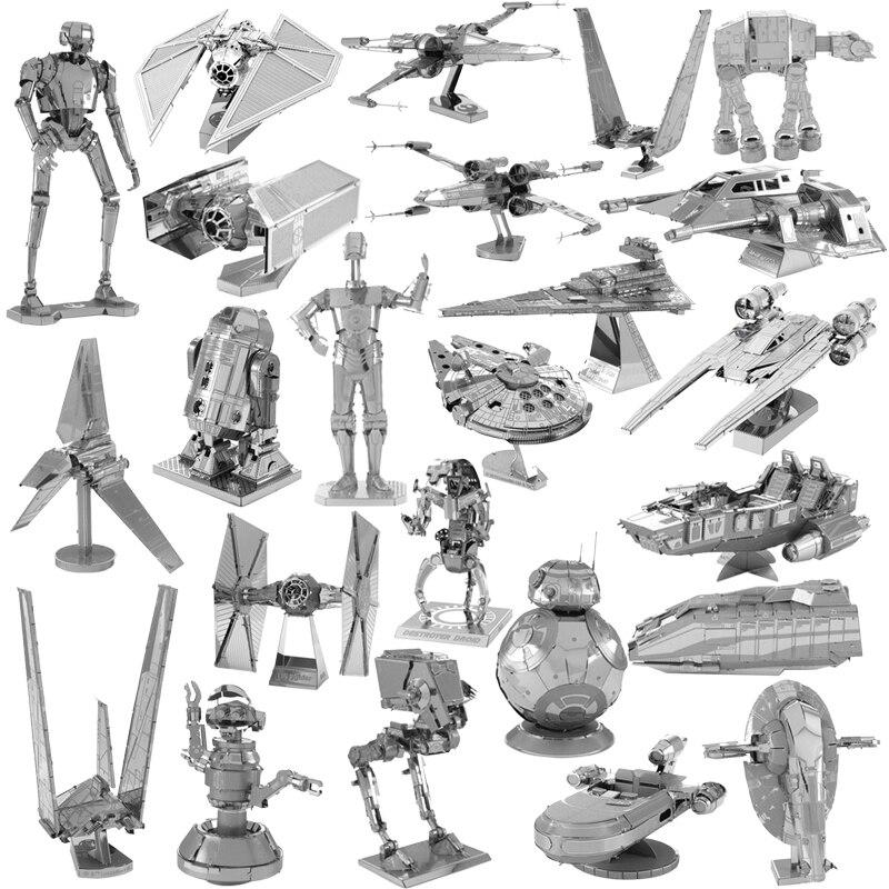 Juguetes de Star 3D para niños, rompecabezas de Metal R2D2 x-wing Fighter...