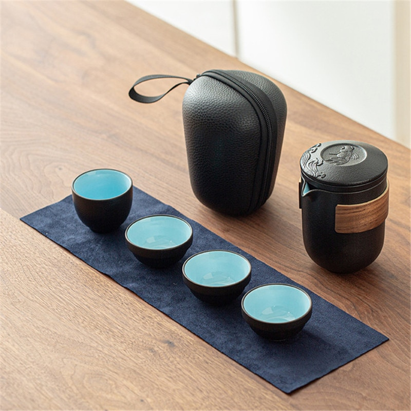 Home Black Ceramic Teapots With 2 Cups Tea Sets Portable Travel Office Tea Set Drinkware Chinese Tea