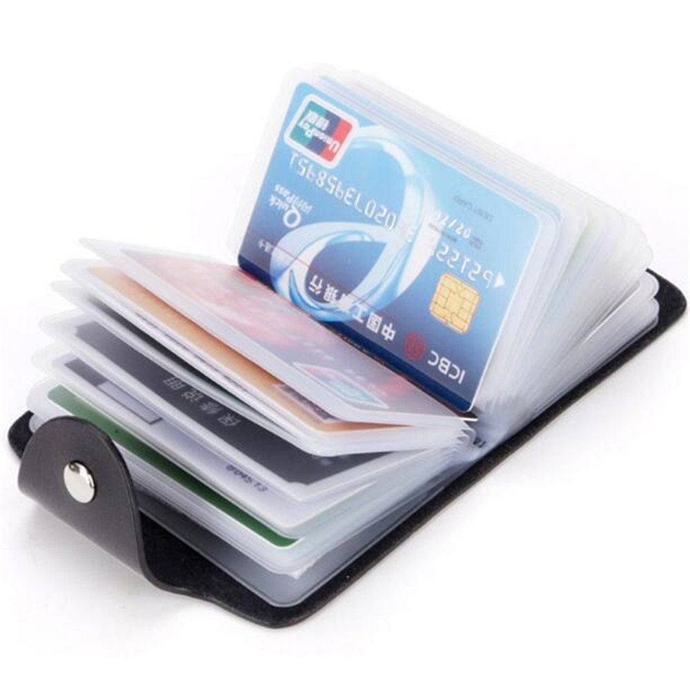 1pc PU Function 24 Bits Credit Card Holder Solid Color Card Case Business ID Card Organizer Portable