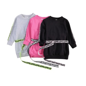 2020 Little Girl's Sweatshirts Dress Solid Color Crew Neck Long Letter Print Sleeve One-piece Short Dress with Belt 1-6 Years