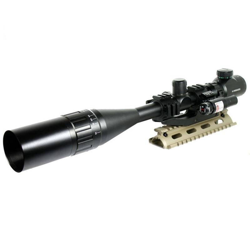 6-24x50 aoeg caça rifle scope vermelho/verde mil-dot com pepr montagem + pára-sol + mira laser combo airsoft tático riflescope