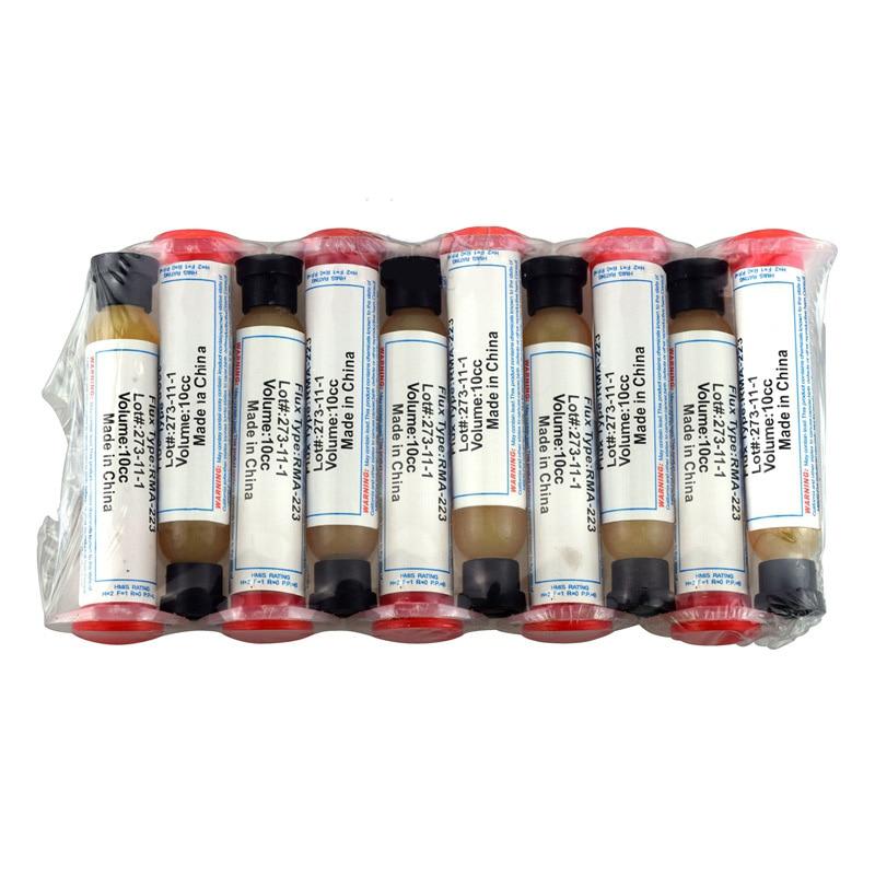 1 unidad de pasta de RMA-223 Flux 10CC jeringa de soldadura de aceite polvo de escamas pasta de soldadura SMD helper