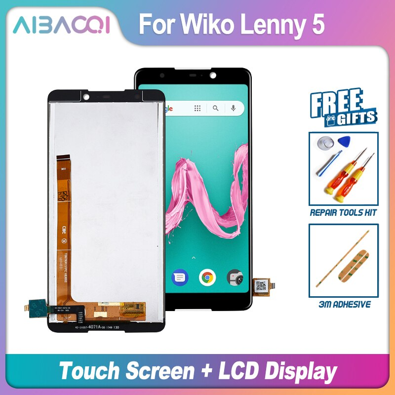 AiBaoQi nueva pantalla táctil Original de 5,7 pulgadas + 1440x720 pantalla LCD reemplazo de montaje para teléfono WIKO Lenny 5