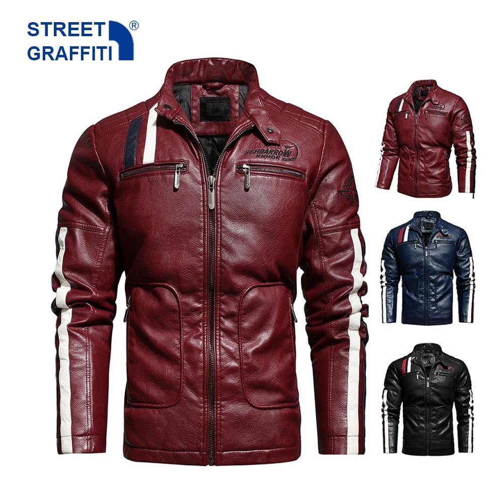 Mens Motorcycle Jacket 2021 Autumn Winter Men New Faux PU Leather Jackets Casual Embroidery Biker Coat Zipper Fleece Male Jacket