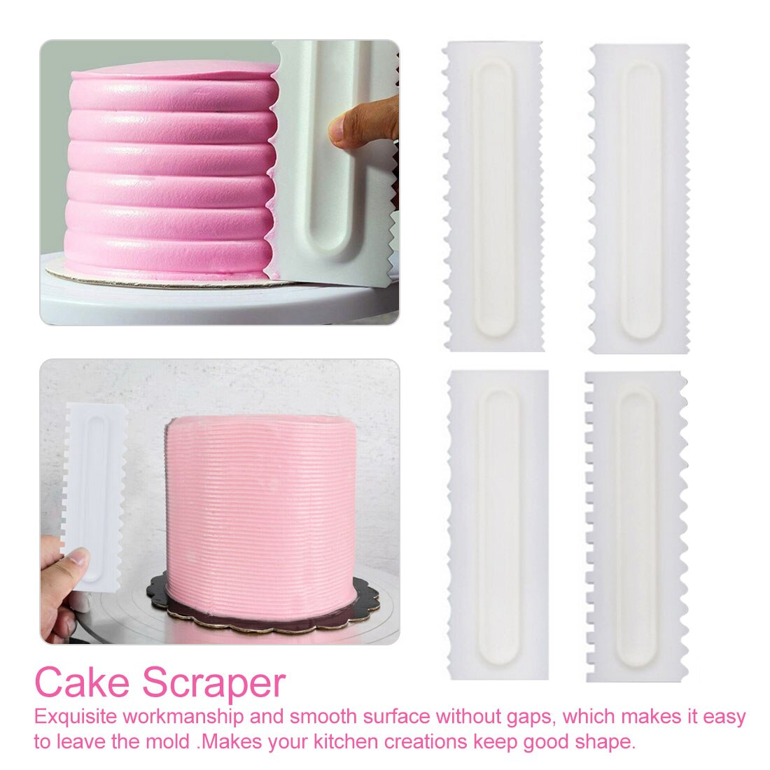 Set de 4 unidades para decoración de tartas, peine de repostería, Espátulas para Fondant, herramientas de repostería, peine decorativo, raspador de torta, crema suave