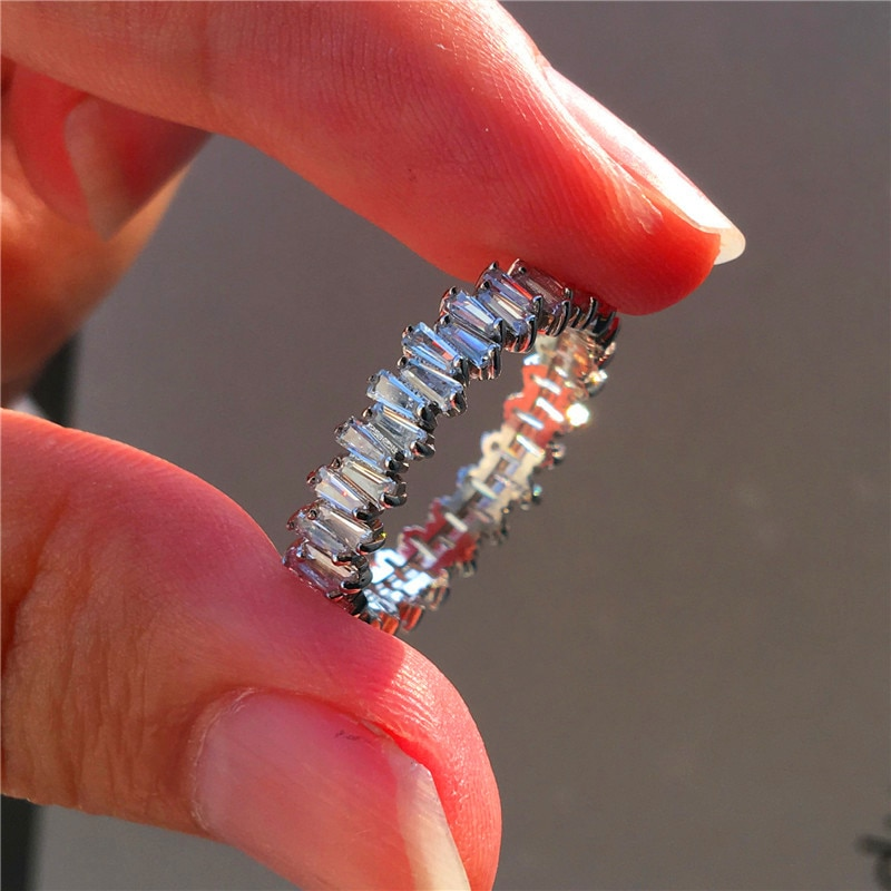 Anillo de piedra de diamante Natural pequeño femenino de lujo 100% Real 925 anillo de compromiso de plata de ley Vintage anillos de boda para mujeres