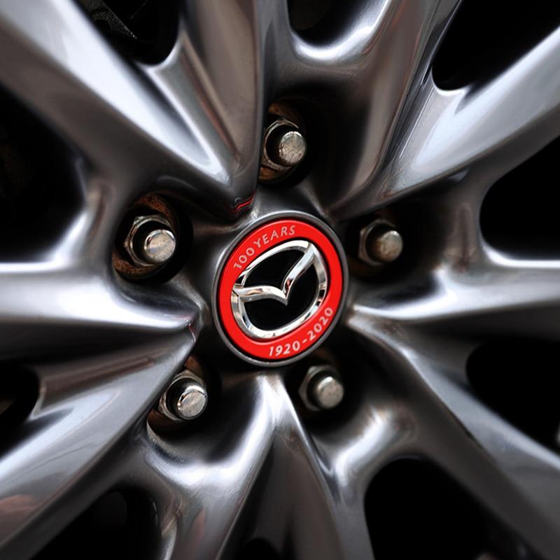 Алюминиевый сплав 100 года корпорации боковое крыло ступицы колеса Эмблема Наклейка для Mazda 3 Axela BP CX-30 аксессуары 2020 2021