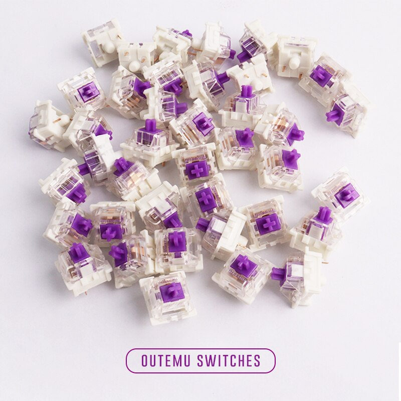 8 Uds interruptor Outemu, caja Pransparent de 3 pines Mx interruptores púrpura verde marrón azul para teclado mecánico Ft GK61GK64 GH60