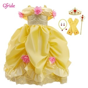 2021 Summer Yellow Girls Cosplay Belle Costume Dress For Off The Should Kids Big Bow Gown Elegant Piano Performance Clothing