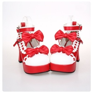 New 2020 Japanese Style Sweet Lolita Shoes Maid Cosplay Shoes Girls Princess Shoes High Heels Women's Shoes w/Bowknot Size 35-44
