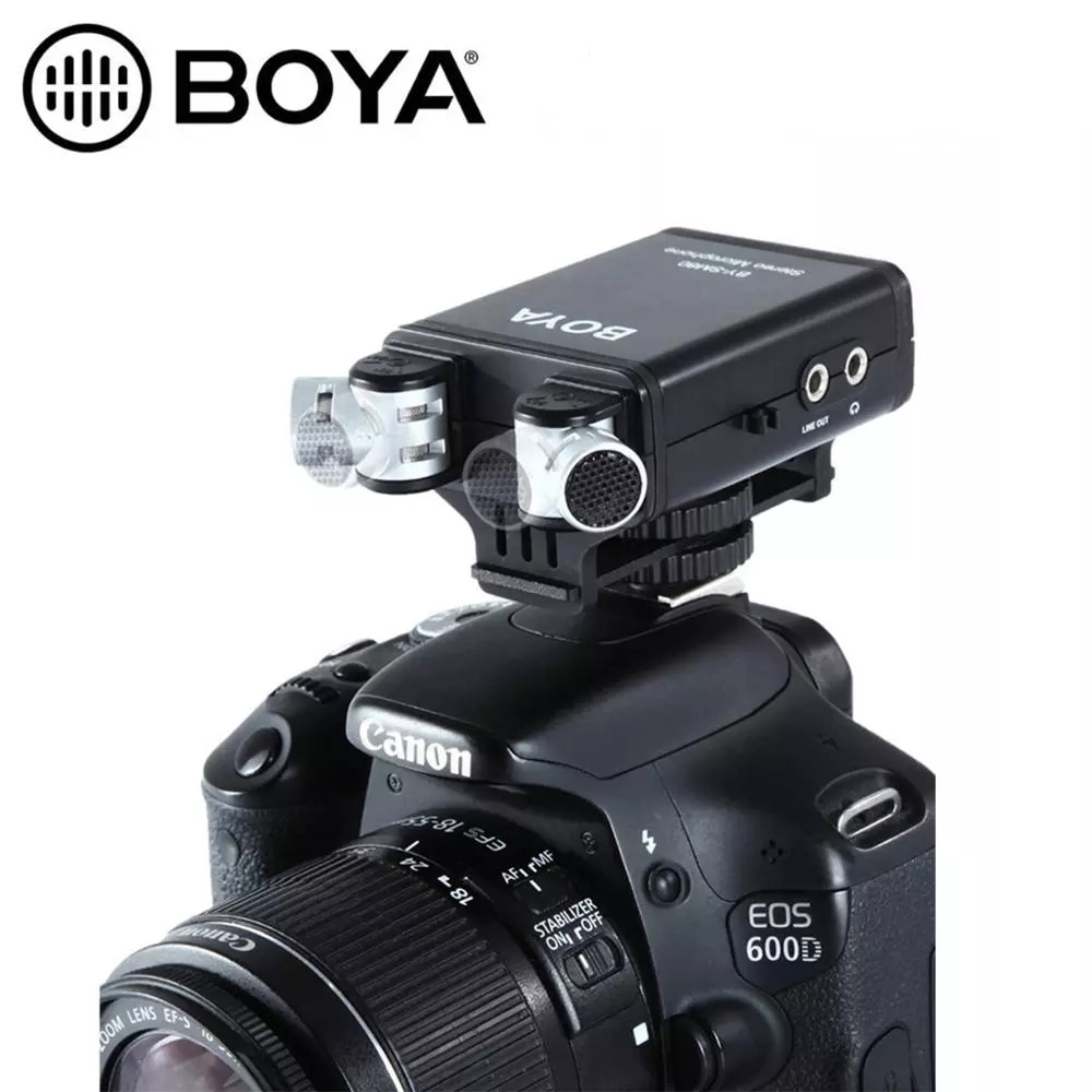 بويا BY-SM80 PassFilter ستيريو كاميرا ميكروفون مع الوقت الحقيقي صوت مراقبة لكانون 5D2 6D 800D نيكون D800 D600 كاميرا