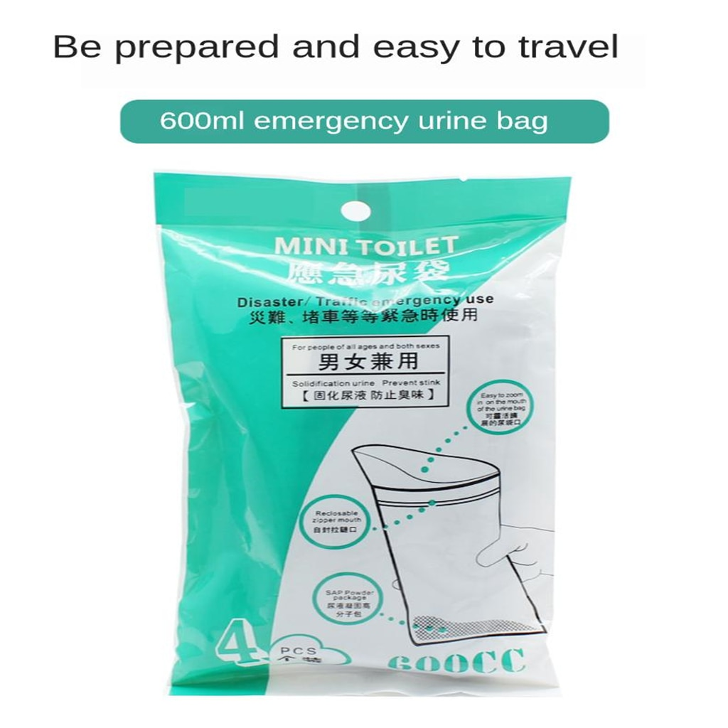 4x Disposable Bags Portable Car Emergency Urinal Wee Pee Bags