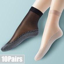 10 paia lotto nuovi calzini da donna in seta di velluto fondo in cotone morbido suola antiscivolo massaggio traspirante calzini di seta sottili estivi antiscivolo