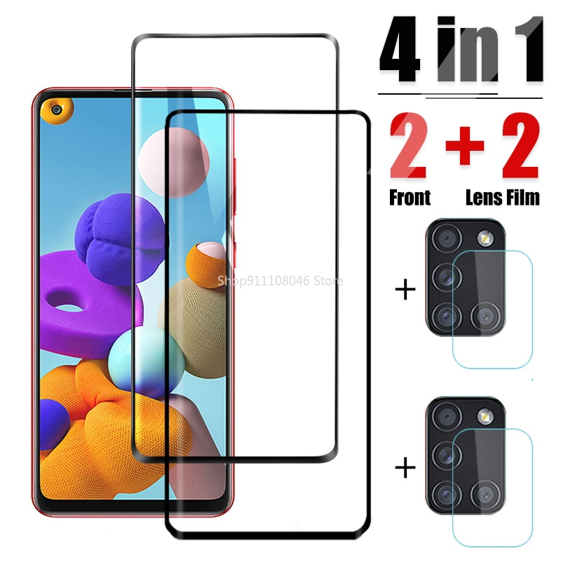 For Samsung A21S Tempered Glass Screen Protector Camera Len Film HD Protective Glass On For Samsung