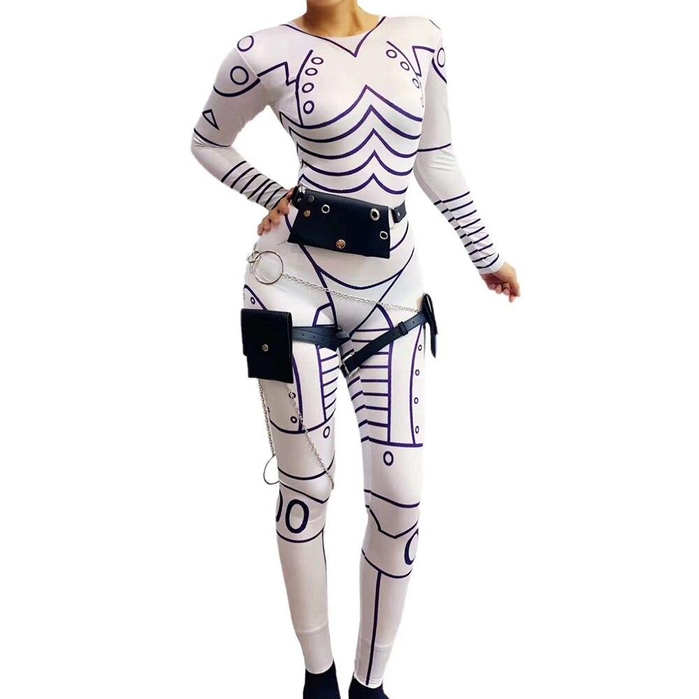 هالوين روبوت لعب الأدوار المرحلة زي الشرير نمط الأبيض مطبوعة المرأة تمتد بذلة عيد الميلاد كرنفال عرض داخلية