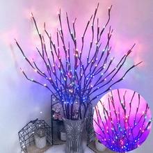 3 pièces 60 ampoules noël Vase décoration lumières saule brun Branches lumière LED chatte USB Plug-in avec interrupteur branche lumières D30