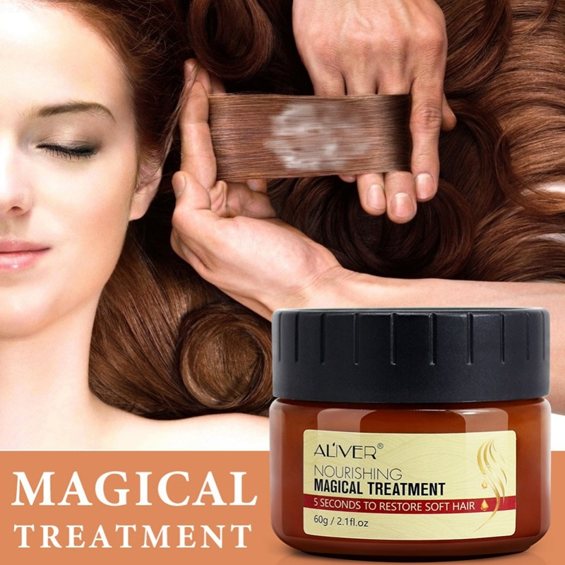 Mascarilla de tratamiento mágico, máscara nutritiva para el cabello, hidratante, para reparar el cabello, daño, restaurar, suave, cuidado del cabello con horquilla antisecado