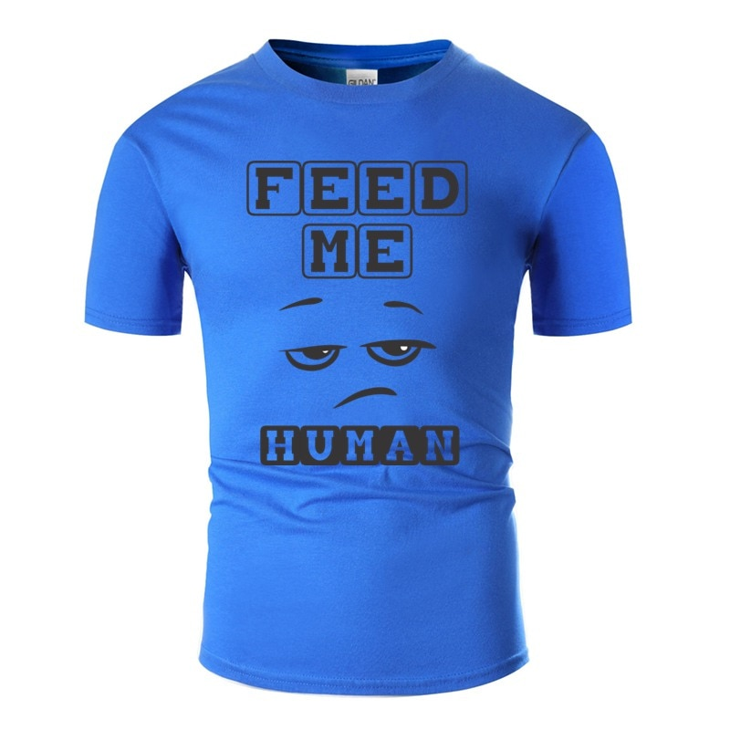 Impresso cabido me alimentar humano tshirt humorístico anti-rugas gola redonda novidade t camisas mais tamanho S-5xl hiphop topo