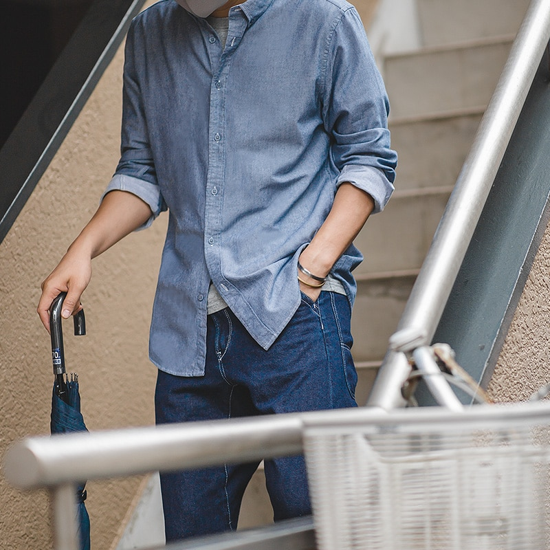 مادن-قميص أكسفورد من القطن الرجالي بأكمام طويلة ، عتيق ، لون عادي ، نحيف