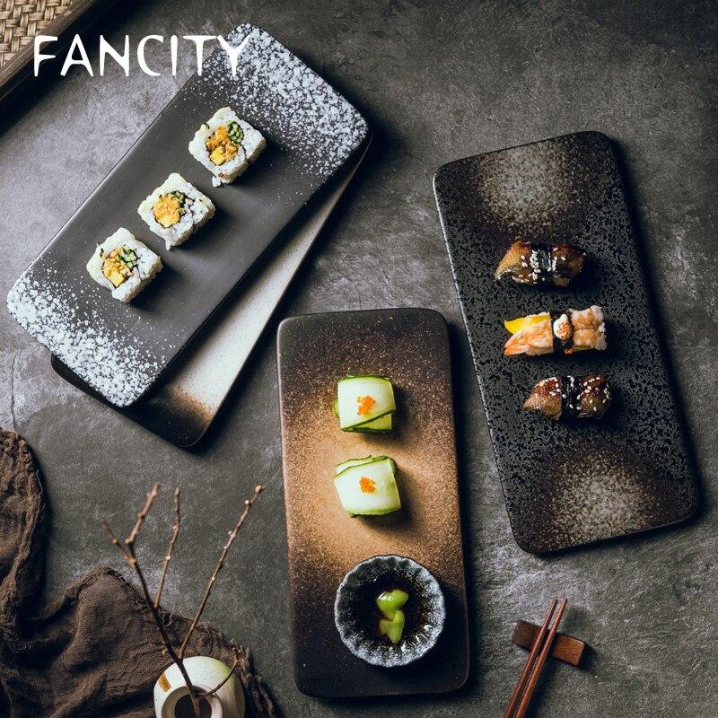 FANCITY-طبق سوشي مسطح ، طبق مطبخ ياباني ، طبق سيراميك إبداعي ، طبق إفطار مربع