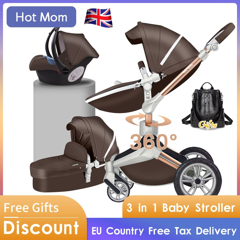 Baby Pram 4 In 1 Luxury Baby Stroller High View HotMom  Aluminum Frame Leather CE Standard