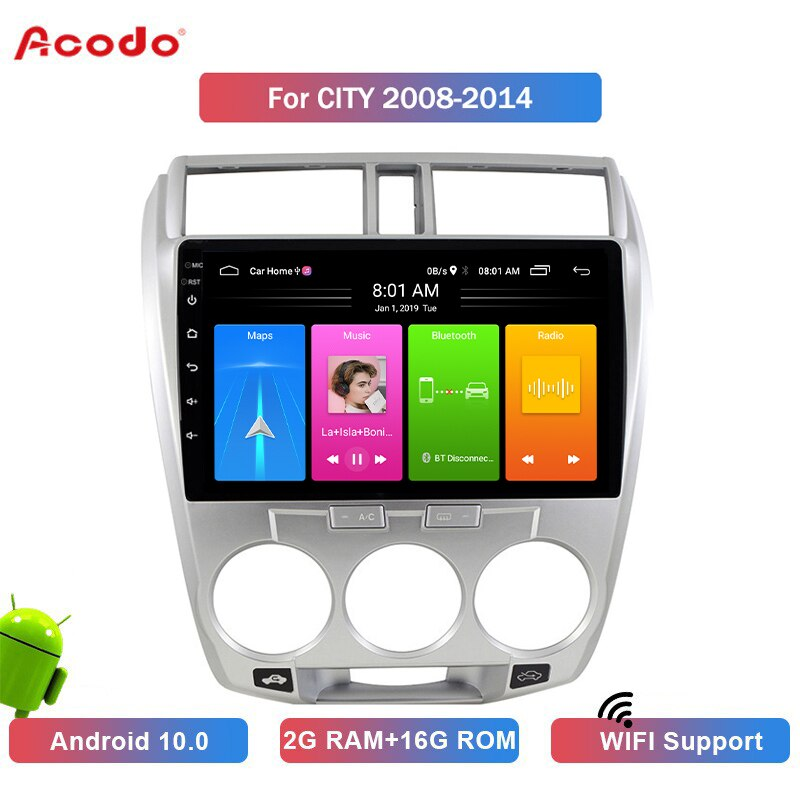 ACODO 2+16G Android 10.0 Car Radio Multimedia Player For Honda CITY 2008-2014 Navigation GPS 2 din