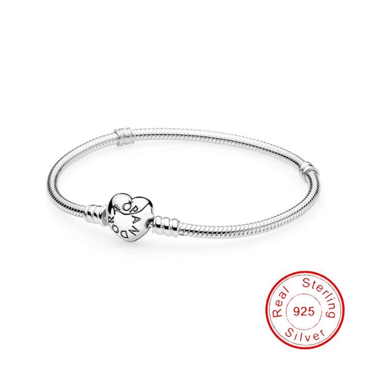 Hot Sale 100% Real Sterling Silver Bracelet Fit Pandora Original Design Beads Charms Bangle DIY Jewe