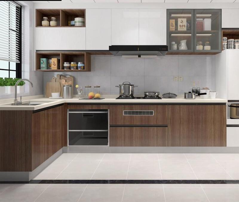 خزائن مخصصة مطبخ كامل خزانة سطح مضادة الحديثة الحد الأدنى الصغيرة المنزلية على شكل حرف u خزانة مخصصة