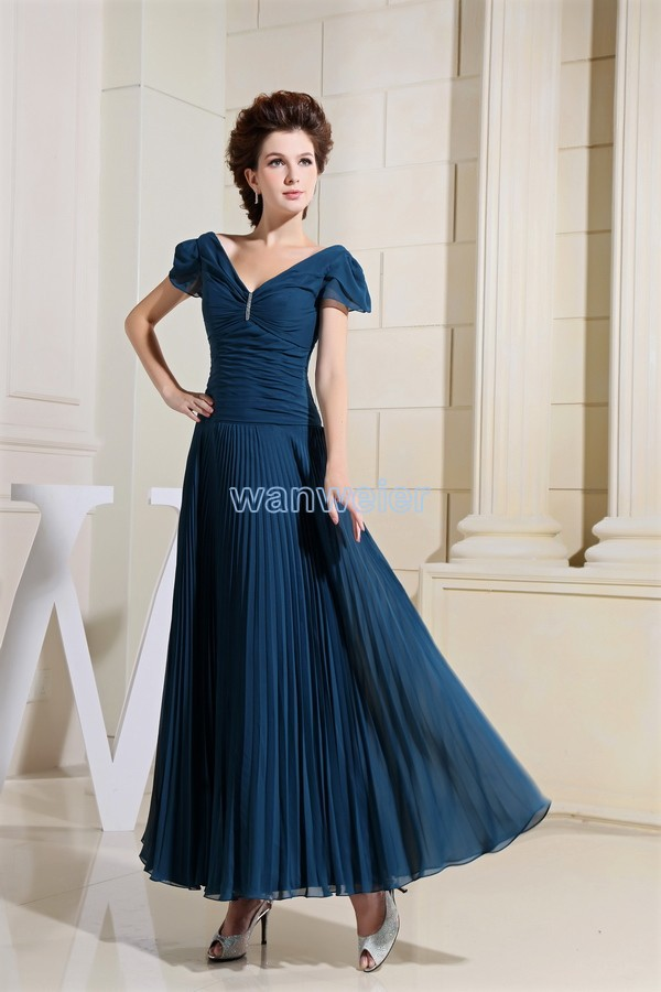 vestido plus size Top Fasion Pleat Chiffon free Shipping New Fashion Formal Long Brides green Evening Mother of The Bride Dress