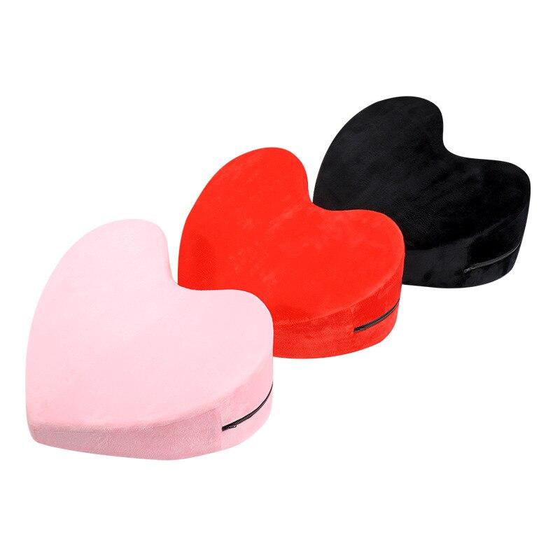 Almohada sexual en forma de corazón de 48cm, productos para adultos, almohada en forma triangular de esponja, cojín de posición de amor, muebles sexuales, sofá erótico, juegos para adultos