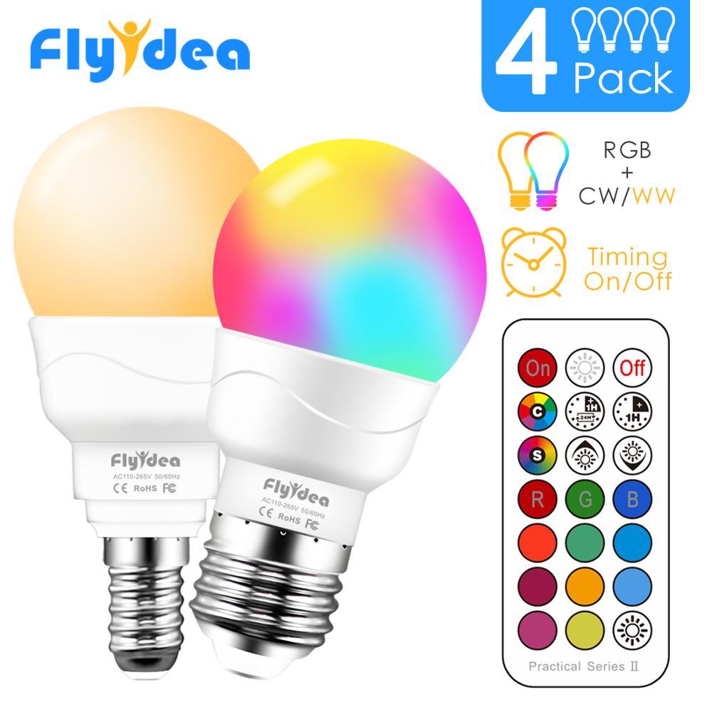 E14 LED ضوء لمبة السحر RGB الذكية الإضاءة مصباح تغيير لون عكس الضوء مع IR عن بعد تحكم الذكية لمبة E27 AC85-265V