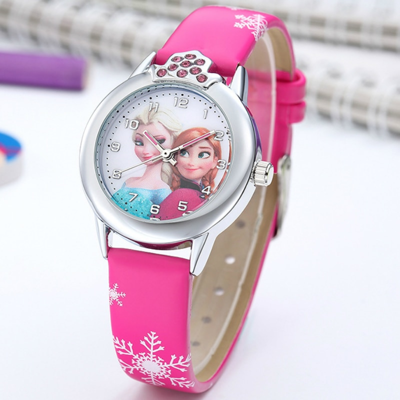 Frozen Watch Kids Princess Ella Cartoon Watches Children Leather Quartz Wrist Watches for Kinds Girl