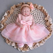 2 Pcs Set Newborn Princess Dress Baby Girls Baptism Dresses Easter Baby Dress 1 ST Birthday Sleeveless infant Christening Gowns