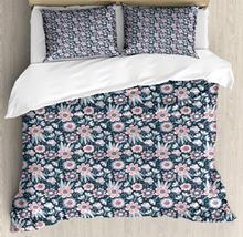 Floral Duvet Cover Set Flowers Hand Drawn Composition 3 Piece Bedding Set Dark Slate Blue Pastel Pink and Blue Grey
