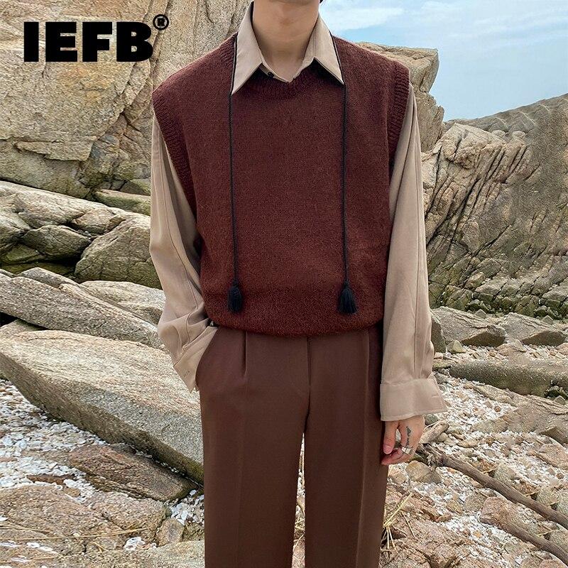 IEFB تصميم شيك كم طويل قميص رجالي 2021 جديد الكورية موضة الخريف بلايز عادية فضفاض الشرابة التلبيب المد الأبيض الكاكي بلوزة