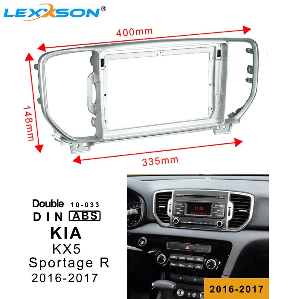 9 pulgadas DVD del coche de la Fascia Trim Kit para KIA KX5 (SPORTAGE R) 2016-2017 doble Din Fascia adaptador de conexión de Audio Fascia marco