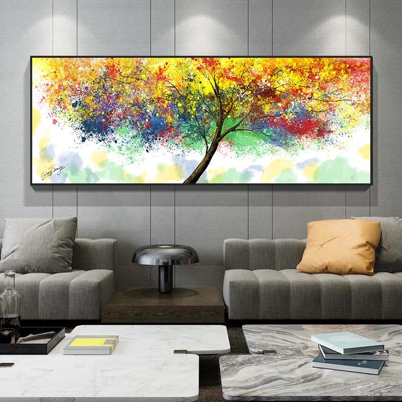 Pinturas y carteles de lienzo de árbol de aceite colorido abstracto moderno...
