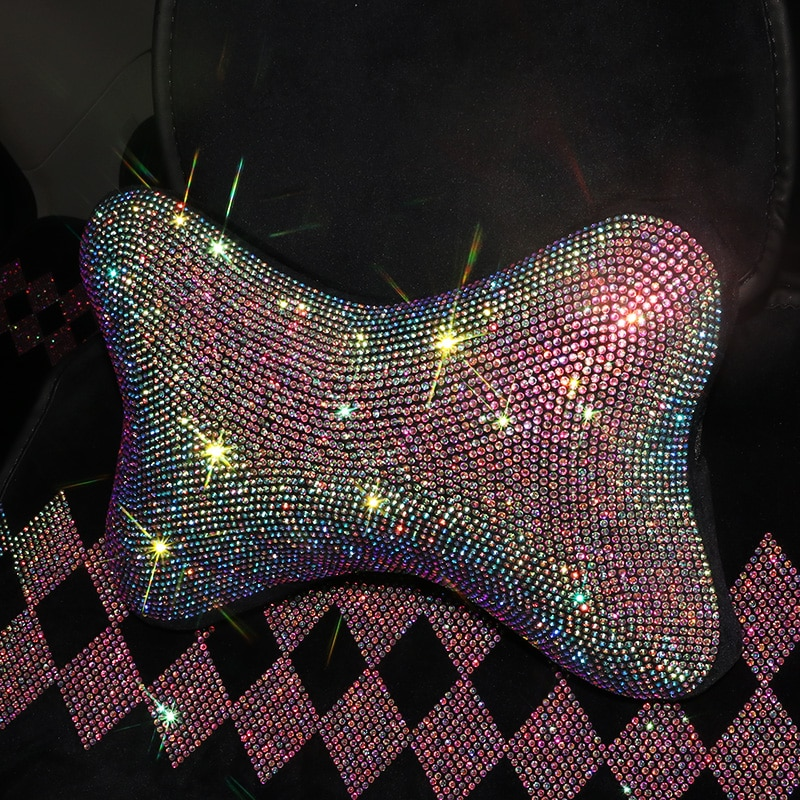 Car Steering Wheel Cover Bling Styling Rhinestone Headrest Pillows Back Support Seat Cushion Interior Set Auto Accessories enlarge