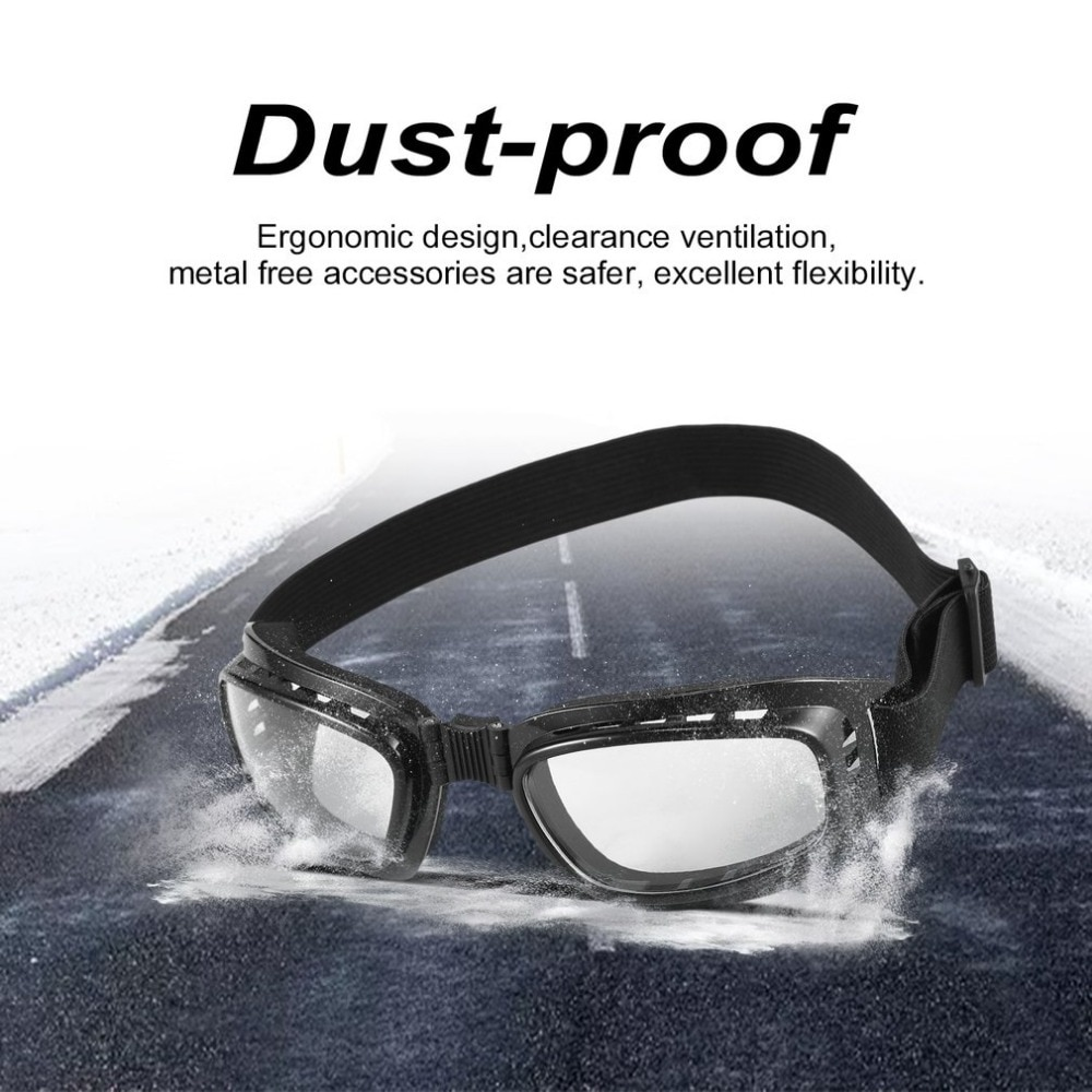 Safety Goggles Foldable Vintage Motorcycle Glasses Windproof Goggles Ski Snowboard Glasses Off Road Racing Eyewear Dustproof hot snowboard off road racing glasses eyewear ski snowmobile atv dh skate goggles single lens clears